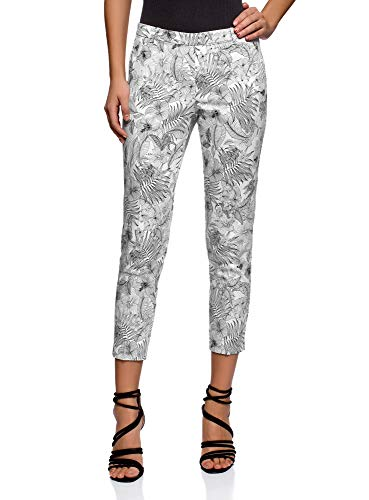 oodji Collection Donna Pantaloni in Cotone Stretti, Bianco, IT 46 / EU 42 / L