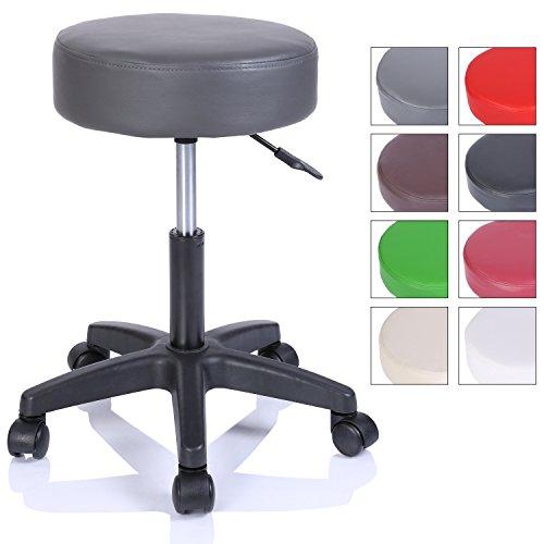 TRESKO, sgabello girevole da lavoro, per estetiste, per studi, regolabile in altezza, con ruote, girevole a 360°, superficie imbottita da 10 cm e 8 colori