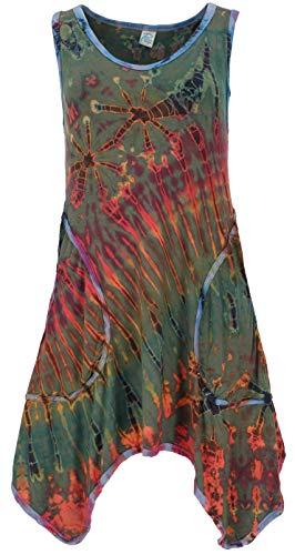 Guru-Shop Batikkleid, Minikleid, Boho Pixi Kleid, Damen, Olive, Synthetisch, Size:38, Kurze Kleider Alternative Bekleidung