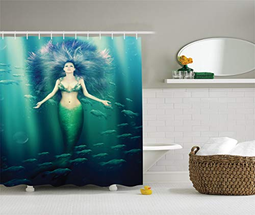 Nyngei Juegode s paraMermaiddecor Sirena con pez en rayosde Sol Luces solares Mundo Submarino mágico Accesoriosde Pulgadas
