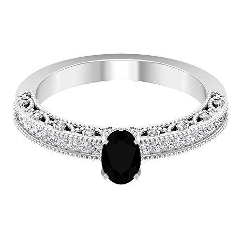 Anillo de compromiso de diamante negro creado en laboratorio de corte ovalado de 6x4 mm, 14K Oro rosa, Size:EU 54