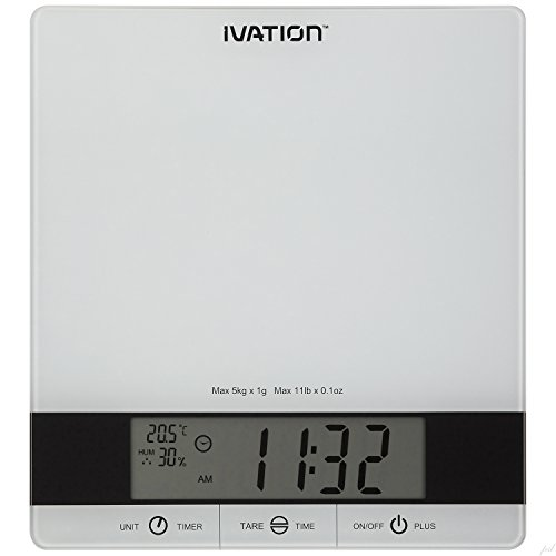 Digital Kitchen Scale w/Timer, Clock, Temperature & RH Levels – Provides Super Accurate Readings in Ounce, Fluid Ounce, Milliliter, Pound: Ounce & Gram Weight Units – Features 11-Pound Capacity & One-Button Tare Setting – White