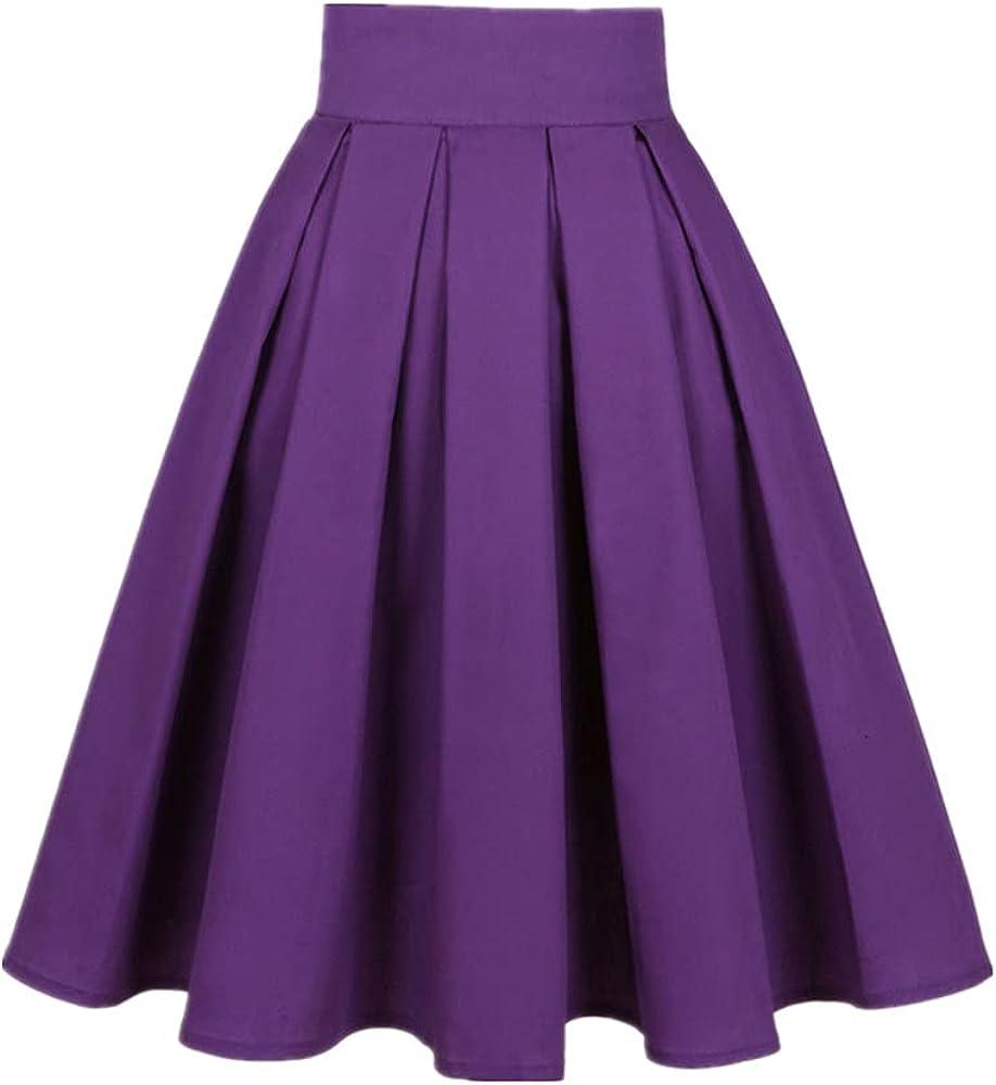 NP Women Color Pleated Skirt Summer Waist Harajuku