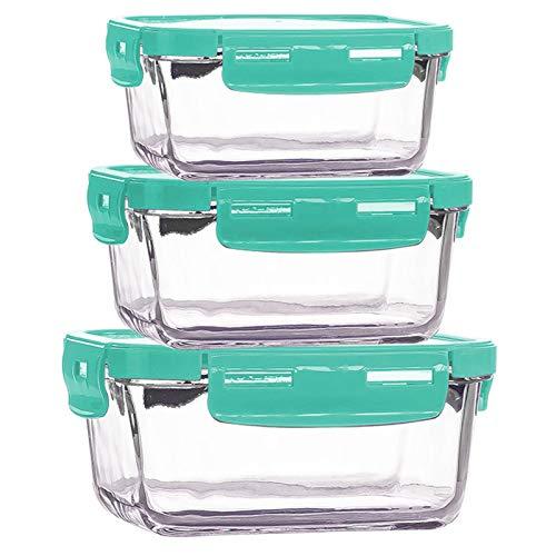 Contenedor de vidrio para preparación de comida, se puede colocar en el refrigerador en el almacenamiento de la caja de almuerzo de vidrio, caja de vidrio. Altura: 21,1 cm, ancho: 18,1 cm. Verde.