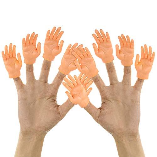 Surakey Winzige Fingerhände, 5 Paar Tiny Hands Fingerpuppen Kleine Hände Props Linke und Rechte Hand Zaubertricks für Halloween Hand Prop Zubehör, Familie Freund Spiele Party