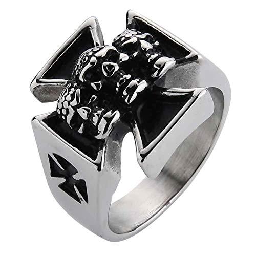 Valily mannen ring goud punk biker schedel kruis ring voor mannen roestvrij staal heren ringen sieraden antiek zilver vinger ringen hombres