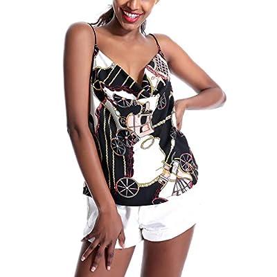 RAINED-Women's Sexy Tank Top Ladies Camisole Silky Loose Blouse Sleeveless Tank Shirt Soft Chiffon Swing Tops
