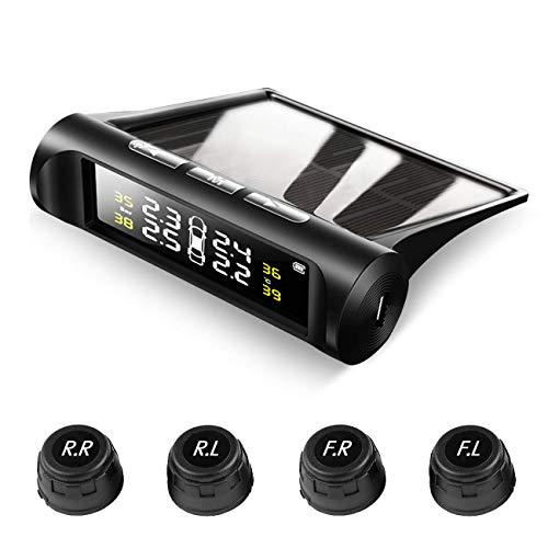 SZSMD Reifendruckkontrollsystem Auto, Solar Reifendruckmesser Reifendruckkontrolle mit 4 Sensoren, Reifendruck-und Temperatur LCD anzeigen