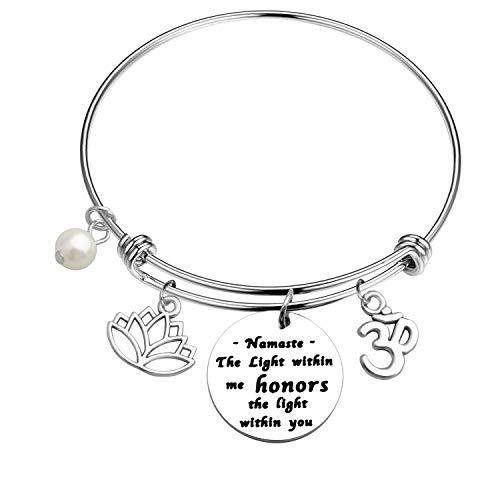 LQRI Yoga Bangle Bracelet The Light within me honors the light within you Namaste charm Bracelet Buddhist Inspirational Jewelry Yoga Instructor Gift (bangle)