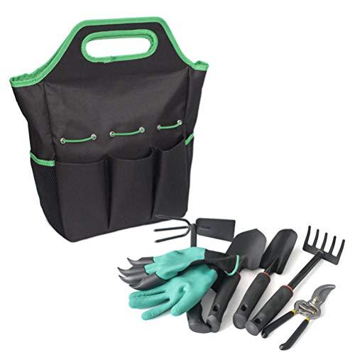 Ensemble d'outils de jardin 7 pièces, Sac fourre-tout de jardin, Ensemble d'outils et d'accessoires à main de jardin avec sac de rangement, Supply Essentials Weeder, Rake, Shovel, Trowel et plus