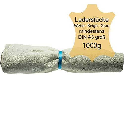 Langlauf Schuhbedarf ® Lederstücke extragroß 1kg hell - Weiss-beige-grau alle Stücke Mind. DIN A3 groß