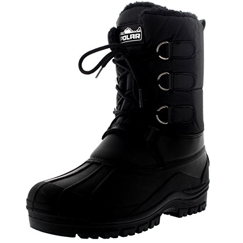 Womens Hiking Duck Winter Walking Mid Calf Muck Thermal Quilted Boots - Black - US5/EU36 - YC0335