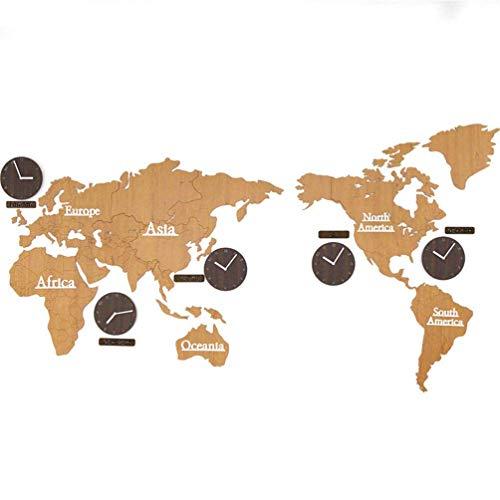 Pillowcase Kreative DIY Holz Wanduhr Weltkarte Große Wandaufkleber Uhr 3D Runde Mute Hängende Uhr Europäischer Moderner Stil Kreative Home Wanddekoration - 220 cm, Leichtholz