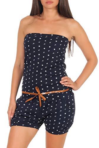 malito dames onesie met anker opdruk | korte overall schoudervrij | Jumpsuit met riem - Romper 8963