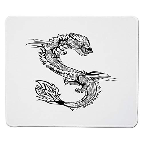 Yanteng Gaming Mouse Pad Japanischer Drache, Uralte fernöstliche Kultur Esoteric Magical Monster Symbolischer Thai-Stil Dekorativ, Schwarz Weiß Genähter Rand