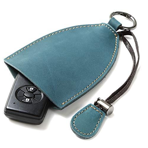 [FREESE] スマートキーケース 本革 キーカバー 車 鍵 キーホルダー デザイナーズ コンパクト メンズ(ブルー)