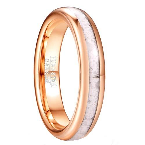 Phyonio Alianza de boda de oro rosa para hombre y mujer con joyas de tungsteno incrustado en mármol blanco para parejas joyas aniversario talla 17.5