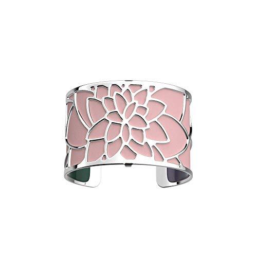 Les Georgettes - Bundle - Armreif in Silber 40mm Nenuphar See Rose inkl. Ledereinsatz Rosa/Petrol Grün