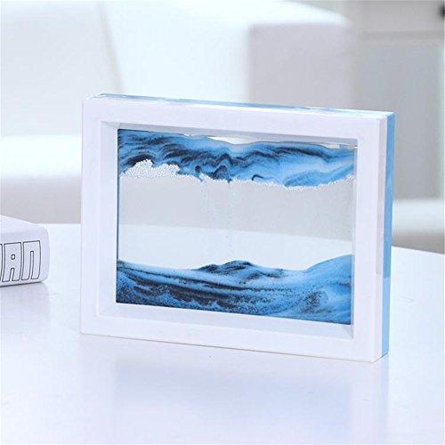 PROW Dynamisch 3D Natürliche Landschaft Fließendes Sand Bild Kunst Double Faced Doppelte Farbe Bewegend Sand Malerei Sandmalerei Sanduhr (Blau Weiss)
