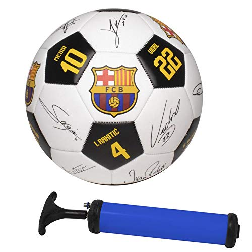 Official FC Barcelona Soccer Ball Kit with Player Signatures and Player Numbers, Size 5 Ball with Carry Bag and Air Pump