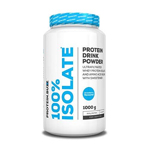Protein Buzz 100% Whey Protein Isolate, 1KG Dose , Erdbeere