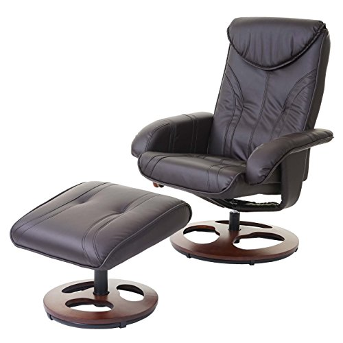 Mendler Relaxsessel HWC-C46, Fernsehsessel Sessel mit Hocker, Kunstleder ~ braun