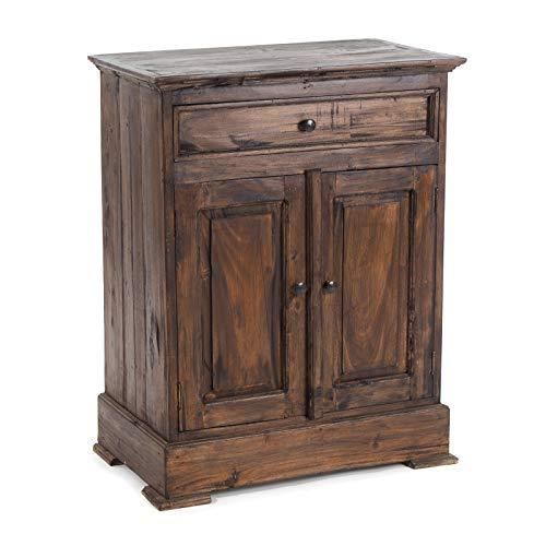 DESIGN DELIGHTS FLURSCHRANK FINCA | Beistellschrank mit Schublade und Zwei Türen, Mahagoni Massivholz, 78x63cm (HxB) | Sideboard, Holzschränkchen, Bauernkommode