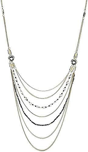 ZGYFJCH Co.,ltd Collar de Moda Estilo Bohemio Multicapa de Cuentas de Vidrio Collar de Cadena Larga Boho étnico Retro Collar joyería de Mujer