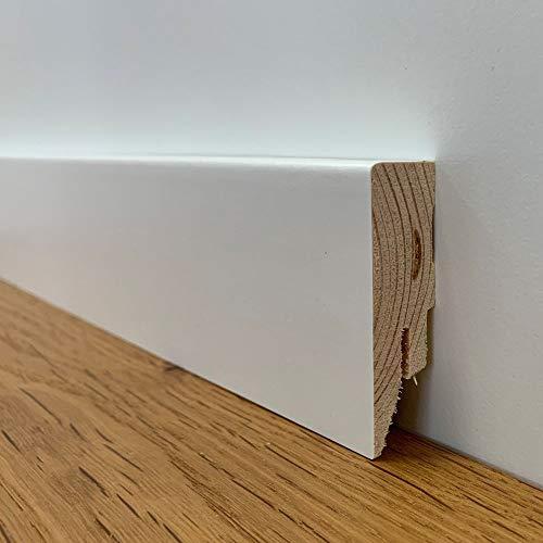 24 meter Sockelleiste Echtholz weiß Cube Topline (16 x 58 x 2400 mm)