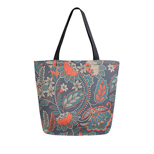 iRoad Women Canvas Bags Vintage Floral Flowers Pattern Shopping Purse Handbag Reusable Grocery Bags Large Canvas Bag Tote for Travel School Work