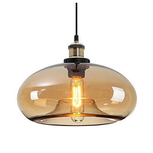 HJXDtech Suspension Luminaire vintage industrielle avec abat-jour en verre coloré, Lustre Loft Lampe à Suspension E27 en Bronze Antique (Ambre)