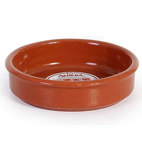 Azofra - Cazuela redonda de barro, diámetro exterior 13.9 cm, diámetro interior 12.3 cm, apta para vitro y horno