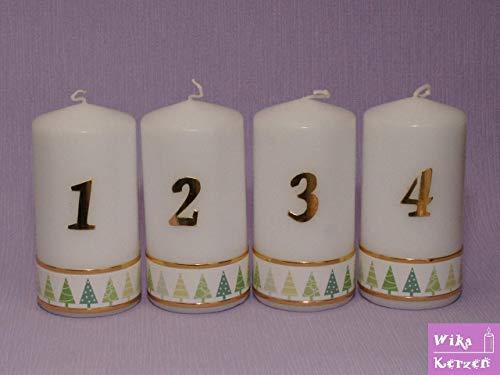 Weihnachtskerze Adventskerze Stumpen Kerze 1-4,mit Tannenbaum in Grün, Größe 12x6 cm Kerzen für Adventskranz Tischkerzen Adventskerzen 100% Handgefertigt