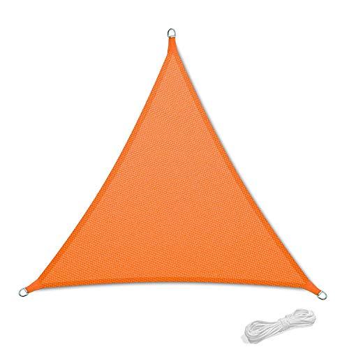 Qdreclod Toldo Vela de Sombra para Patio, Impermeable a Prueba de Viento Toldo de Refugio Canopy Vela protección UV para Exteriores Jardín Terraza 2x2x2m Triángulo Naranja