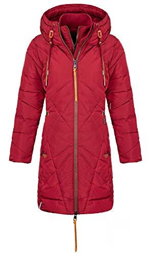khujo Damen Jacke Daniella mit Kapuze warm lang Steppjacke Steppmantel Winterjacke, Rot, S