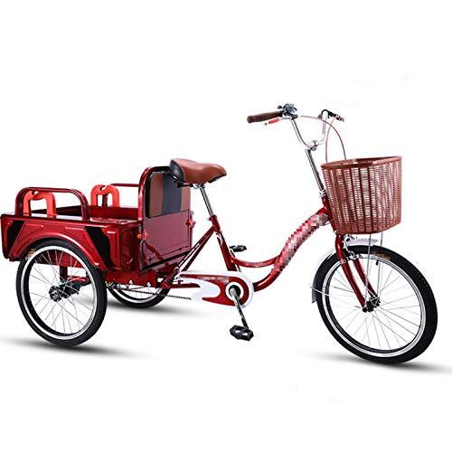 TWW Triciclos De Propulsión Humana, Bicicletas, Pedales, Pedales, Camiones Pequeños, Personas Mayores, Ocio De Mediana Edad Y Ancianos, Triciclos De Transporte,Rojo