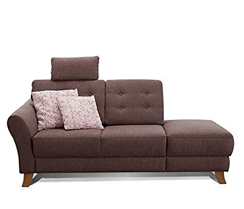 Cavadore Recamiere Trond mit Federkern / Modernes Sofa im Landhausstil mit Armteil links / Inkl. Kopfstütze und Rückenkissen / 194 x 89 x 92 / Flachgewebe dunkelbraun