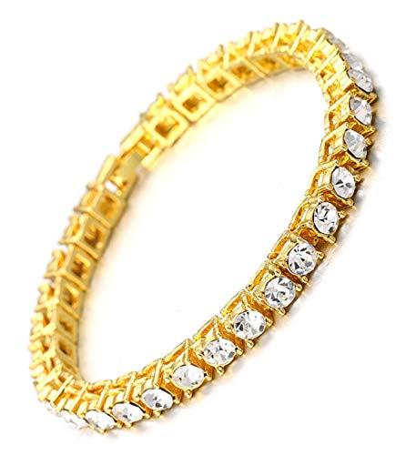 Halukakah Herren Goldkette Iced Out,5.5MM Herren Tenniskette 18 Karat Echt Vergoldetes Armband 20cm,Labordiamant Zinken-Set,Geschenk für Ihn