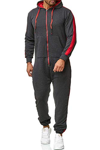 OneRedox Herren Trainingsanzug Unisex Jogger Jumpsuit Jogging Anzug Overall Einteiler Modell 1257 Antrazit S
