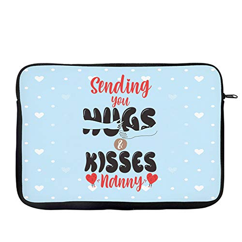 Mother's Day Sending You Hugs and Kisses Nanny Laptop Sleeve, Laptop Organiser, Laptop Case Office use Birthday Present. (14')