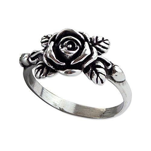 Damenring Rose 925 Sterling Silber Rosenring (56 (17.8))