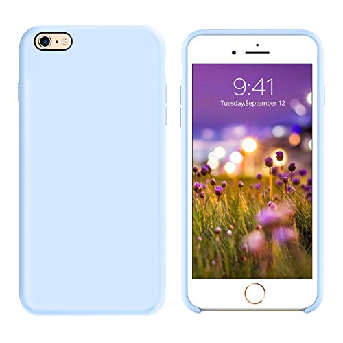 GUAGUA iPhone 6 Case iPhone 6S Case Liquid Silicone Gel Rubber Cover with Soft Microfiber Cloth Lining Cushion Slim Lightweight Shockproof Protective Durable Phone Cases for iPhone 6/6s Light Blue