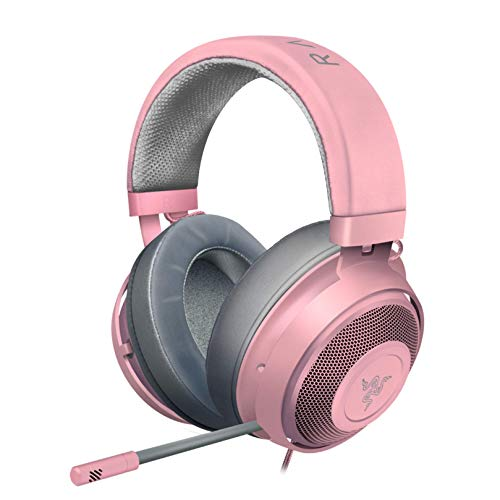 Razer Kraken Gaming Headset: Lightweight Aluminum Frame, Retractable Noise Isolating Microphone, For PC, PS4, PS5, Switch, Xbox One, Xbox Series X & S, Mobile, 3.5 mm Audio Jack, Quartz Pink