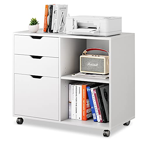 DEVAISE 3-Drawer Wood File Cabinet, Mobile Lateral Filing Cabinet, Printer Stand with Open Storage Shelves for Home Office, White