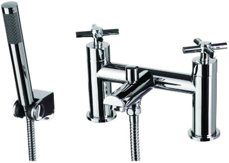 Dune Bath Shower Mixer Taps - Bathroom Bath  Shower Taps - Deck Mounted - 2 Tap Hole - Modern Chrome Finish