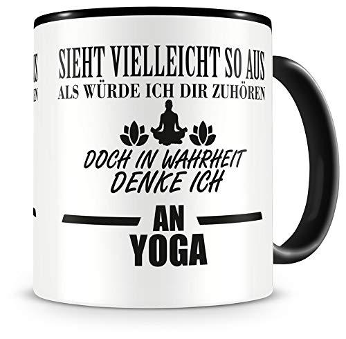 Samunshi® Ich denke an Yoga Tasse Kaffeetasse Teetasse Kaffeepott Kaffeebecher Becher