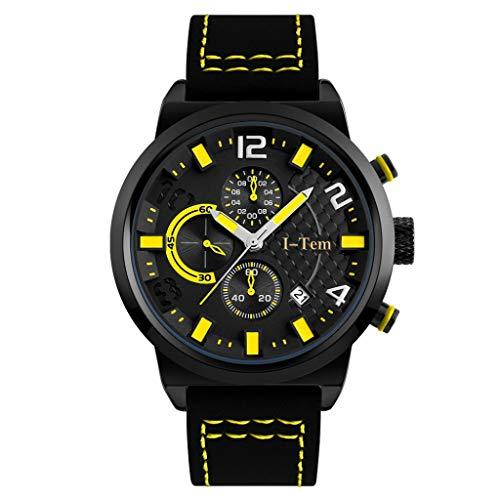 The Perfect Gentleman I-TW20 Series One Reloj de pulsera con almohadilla de muñeca extraíble de cuero, El caballero perfecto., Amarillo