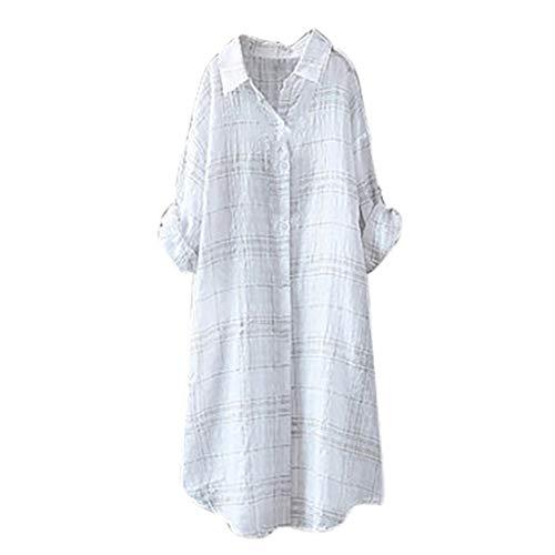 Zegeey Oberteil Damen Hemd Blusen T-Shirt Gestreift Leinen Tunika Umlegekragen Sommer Tuniken(Weiß,56 DE/5XL CN)