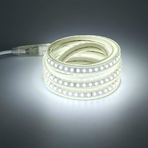 Tira de luz LED de 220V con enchufe de la UE 120 led / m SMD 5730 Iluminación de armario de cocina y jardín al aire libre de alto brillo 2M Blanco frío (blanco frio,2)