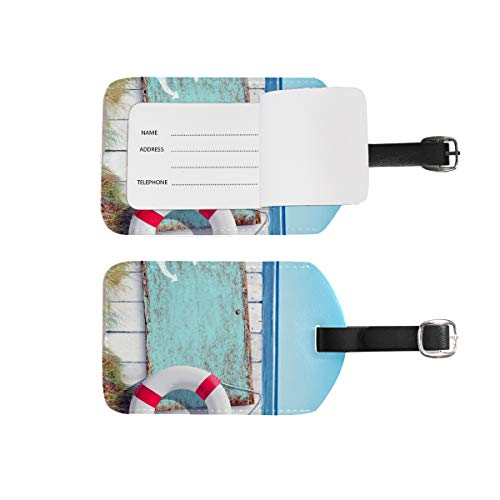 Luggage Tags Address Name Holder, 2Pcs Portable Identifier Label Set Checked Card Bag Decoration Travel Gear Gifts for Suitcases Bags Baggage Wooden Beach
